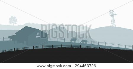 Silhouettes Of Farm Landscape. Rural Panorama Of Runch With Cow On Meadow. Village Scenery For Poste