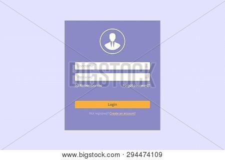 Login Form Page, Website Vector Template For Registration And Login Form