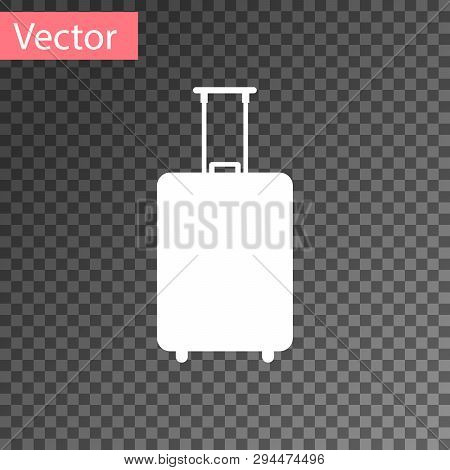 White Travel Suitcase Icon Isolated On Transparent Background. Traveling Baggage Sign. Travel Luggag