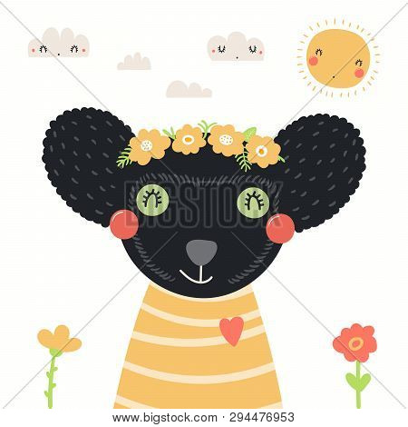 Hand Drawn Portrait Of A Cute Indri In Shirt And Flower Wreath, With Sun, Clouds. Vector Illustratio