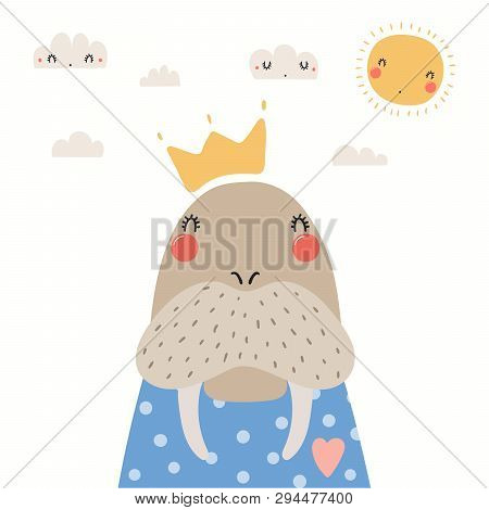 Hand Drawn Portrait Of A Cute Walrus In Shirt And Crown, With Sun And Clouds. Vector Illustration. I