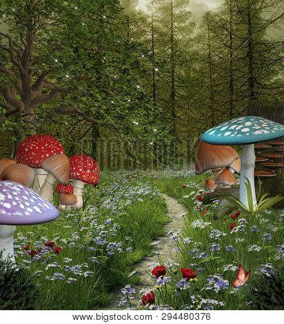 Enchanted Nature Series - Pathway In The Green Fantasy Forest - 3d Illustration