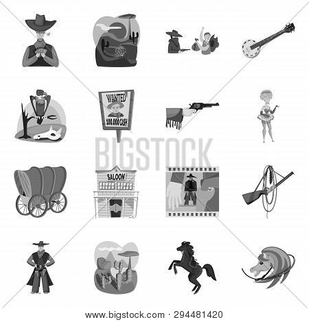 Isolated object of ranch and farm logo. Collection of ranch and history stock vector illustration. poster