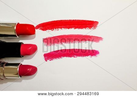 Lipstick. Beauty And Fashion Concept. Set Of Beautiful Lips On White.lipstick And Lipstick Kiss Mark