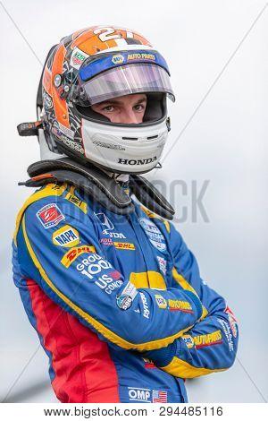 April 06, 2019 - Birmingham, Alabama, USA: ALEXANDER ROSSI (27) of the United States prepares to qualify for the Honda Indy Grand Prix of Alabama at Barber Motorsports Park in Birmingham, Alabama.