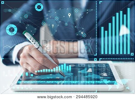 Business Analysis, Stock Market Analyzing And Financial Investment Concept. Digital Marketing And On