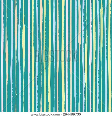 Vertical Painterly Pink, Blue, Coral Pastel Stripes. Dense Seamless Vector Pattern On Turquoise Teal