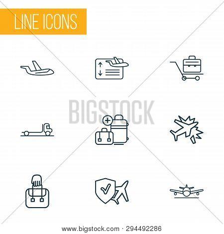 Travel Icons Line Style Set With Travel Insurance, Plane Crash, Extra Baggage And Other Luggage Elem