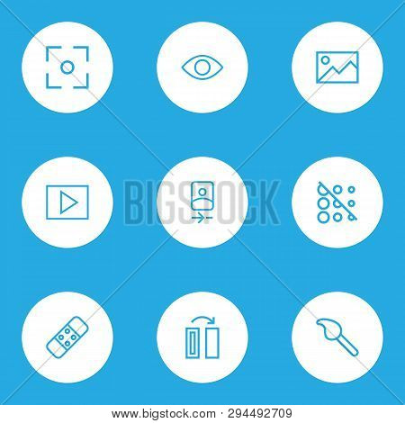 Photo Icons Line Style Set With Plaster, Picture, Smartphone And Other Camera Front Elements. Isolat
