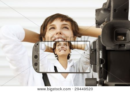 Taking movie with professional camcorder