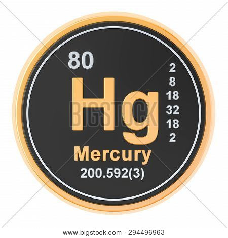 Mercury Hg Chemical Element. 3d Rendering Isolated On White Background
