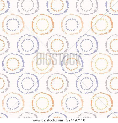 Hand Drawn Spotted Polka Dot Circles Seamless Pattern. Sketchy Organic Dotty Button Vector Illustrat