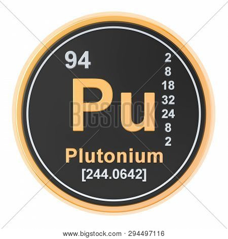 Plutonium Pu chemical element. 3D rendering isolated on white background poster