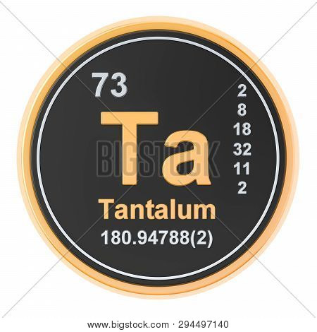 Tantalum Ta Chemical Element. 3d Rendering Isolated On White Background