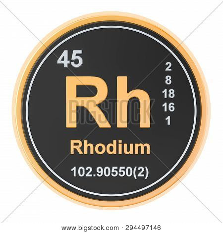 Rhodium Rh Chemical Element, 3d Rendering Isolated On White Background
