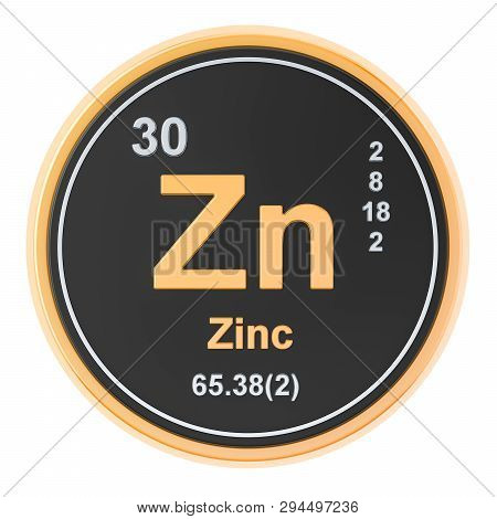 Zinc Zn Chemical Element. 3d Rendering Isolated On White Background