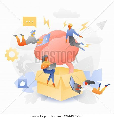 Thinking Beyond The Box By Tiny Multicultural Entrepreneurs. Vector Metaphor Of Thinking Outside The