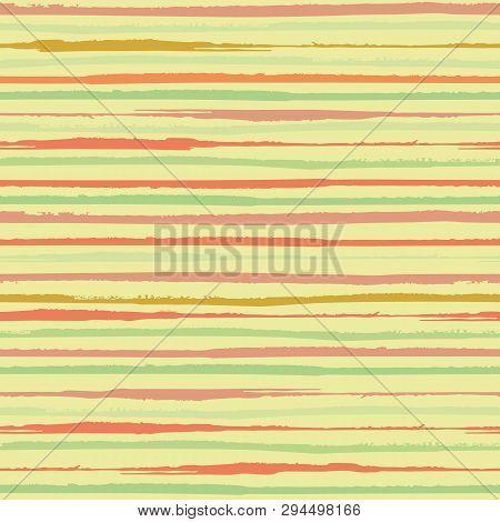 Vibrant Horizontal Painterly Orange And Green Stripes. Dense Seamless Vector Pattern On Yellow Backg