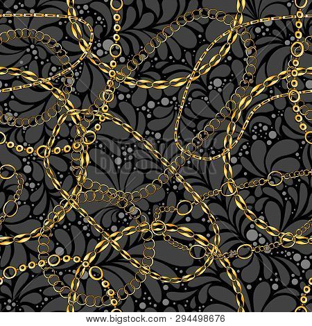 Damask Seamless Vector Pattern With Chains. Abstract Ornate Glamour Texture. Golden And Silver Jewel