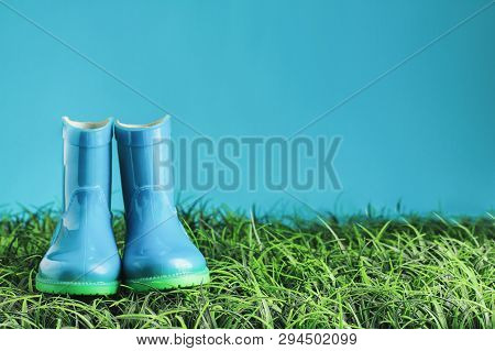 Blue Rain Boots Sitting In The Grass