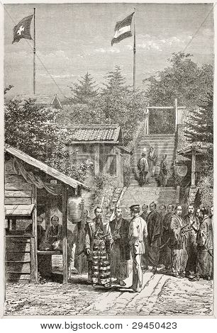 Swiss legation house guard in Yedo (Tokyo) old illustration. Created by Neuville after photo by unknown author, published on Le Tour du Monde, Paris, 1867