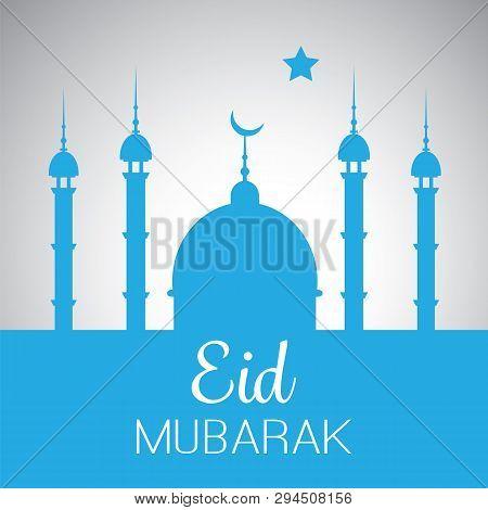 Ramadan Kareem Or Eid Mubarak - Greeting Card For Muslim Community Festival With Blue Mosque