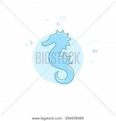 Hippocampus, Seahorse Flat Vector Icon. Marine Life, Underwater World, Sea Creature Illustration. Li
