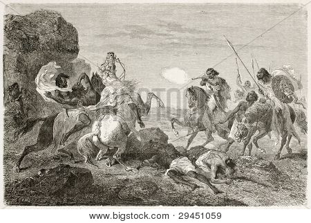 poster of British traveller John Bell killed by Abyssinian warriors. Created by Bayard, published on Le Tour du Monde, Paris, 1867