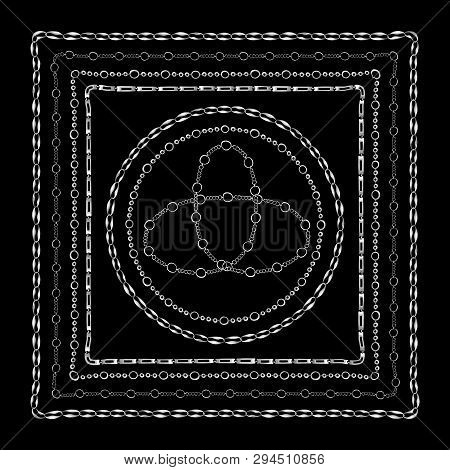 Chains Bandanna Square Silk Scarf Template With Vector Pattern For Textile Or Fabric. Sliver Chain O