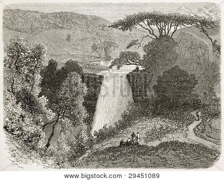 Reb waterfalls old view, Abyssinia. Created by Ciceri after Lejean, published on Le Tour du Monde, Paris, 1867