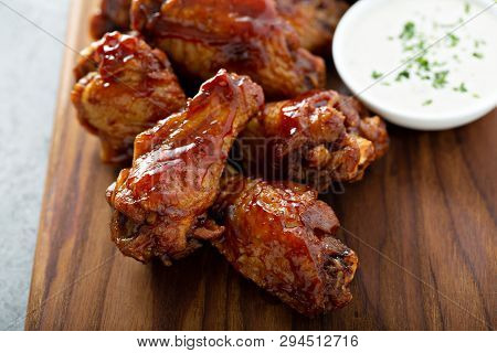 Barbeque Chicken Wings With Celery And Ranch