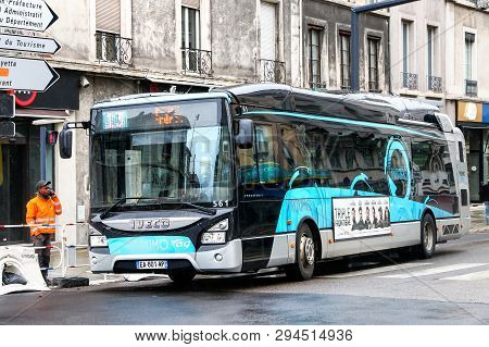 Grenoble, France - March 14, 2019: Urban Bus Iveco Urbanway In The City Street.