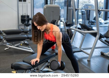 Slim Woman Exercis With Dumbbells On Bench At Gym.