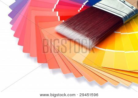 paint chart with paintbrush over white background poster