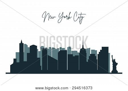Silhouette Of New York City. Nyc Urban Skyline With  Skyscrapers, Buildings. Vector.