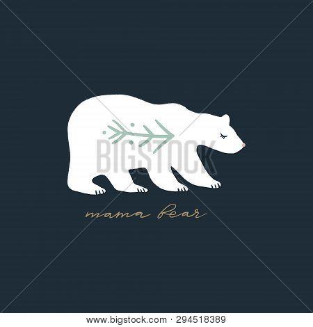 Mama bear nursery vector image, baby art, nursery design poster