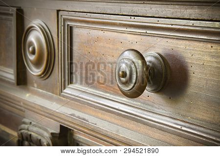 Detail Of An Old Knob Turned Wood - Old Tuscany Furniture - Italy, 19th Century