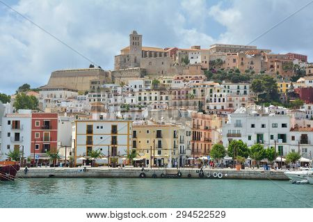 Ibiza, Spain - July 14, 2017 : Old Town With Castle And Marina Of Eivissa City, Ibiza Island. Waterf