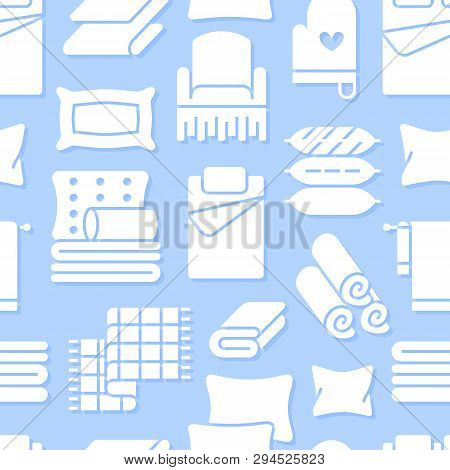 Home Textiles Seamless Pattern With Flat Glyph Icons. Bedding, Bedroom Linen, Pillows, Sheets Set, B