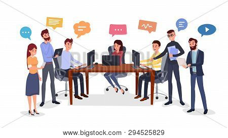 Team Brainstorm, Idea Generation Flat Illustration. Smiling Colleagues Group Cartoon Characters. Coo