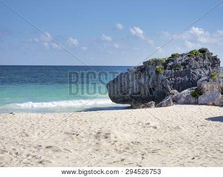 Tropical Beach Of Tulum In Quintana Roo, Mexico.