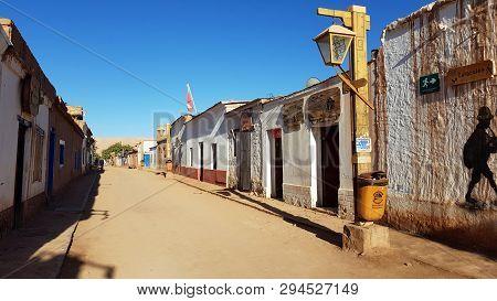 San Pedro De Atacama, Chile - February, 2019. A Street In San Pedro De Atacama With The Typical Adob