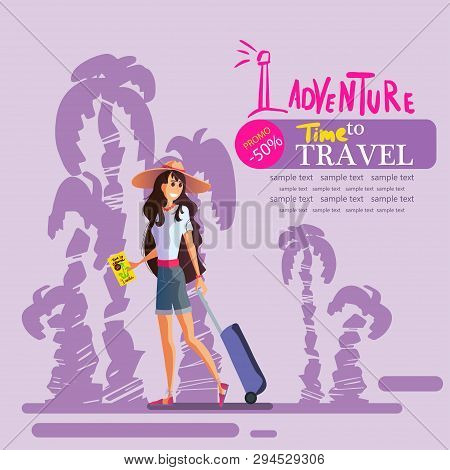 Young Girl With A Suitcase In A Hat Travels Around The World, The Sea, The Sun And The Beach. Leafle