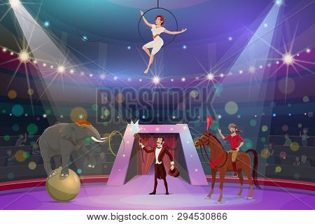 Circus Show Trick Illusionist, Animal Tamer And Acrobat. Vector Big Top Circus Performance Magician