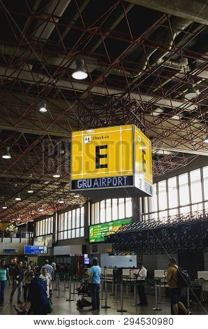 Guarulhos - Sp, Brazil - February 20, 2019: Indoors Of Gru Airport, Informative Cube Of Check-in E.