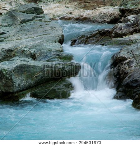 Relaxing View Of River Stream Waterfall. Tranquil Wildlife Nature