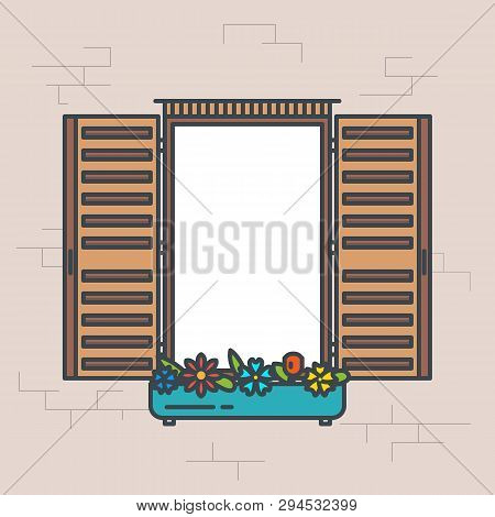 Open Window Frame. Line Style Vector Illustration. Retro Design Style Window Banner. Front View With