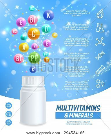Vitamins And Minerals Complex Pills And Capsules, Healthy Dietary Supplement. Vector Essential Multi
