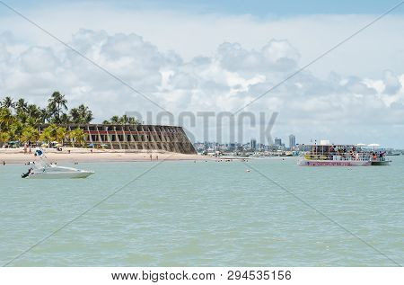 Joao Pessoa - Pb, Brazil - February 24, 2019: View Of Praia De Tambau Beach, Some Boats, And The Ico