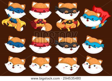 A Vector Collection Of Fox In Superhero Costumes